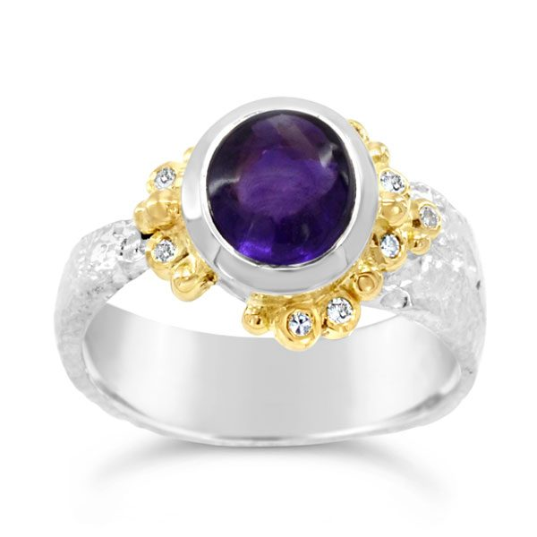 amethyst diamond ring white gold with gold bead work