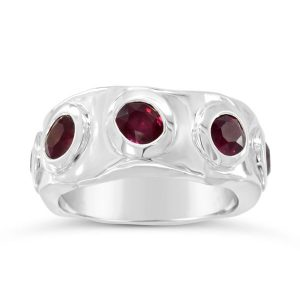 Ruby eternity ring side hammered in 9ct white gold