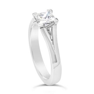 Princess cut diamond engagement ring in platinum with a split shank feature