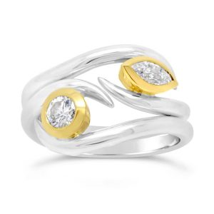 Spiky stacking rings White and Yellow Gold Inverse Spiky Stacking Rings