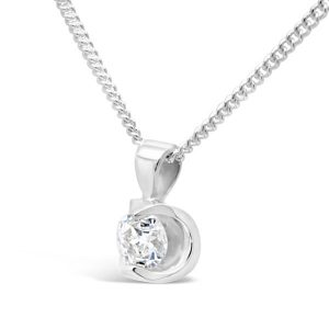 White Gold Diamond Pendant Small