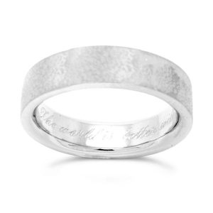 Script Engraving Inside Platinum Ring
