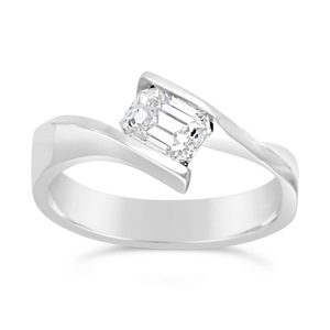 Platinum Engagement Ring Emerald Cut Diamond Flat Twist