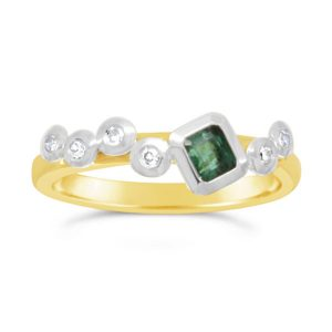 Emerald Stacking Ring with diamonds in a scatter pattern