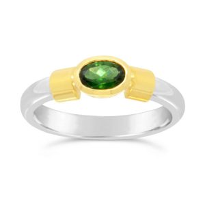silver and gold ring with gold shoulders and an oval green tourmaline