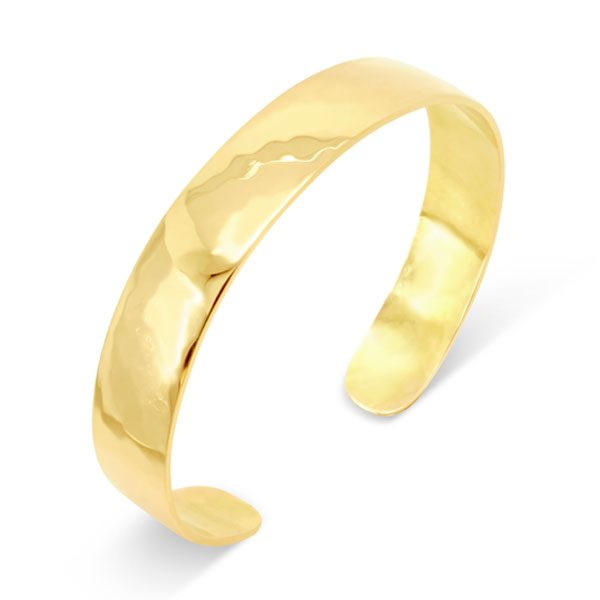 Hammered Gold Cuff Bangle 10mm Wide