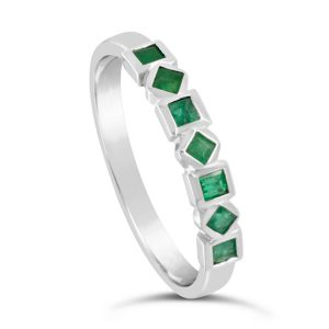 emerald eternity ring with squares and diamonds alternating in white gold