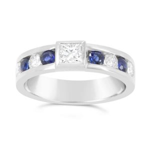 Princess Cut Diamond Platinum Ring with Channel Set Sapphires and Diamonds