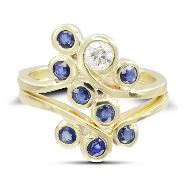 redesigned old Diamond Sapphire Stacking Swirl Ring
