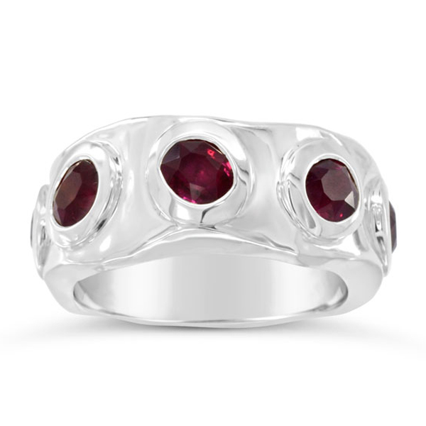 Ruby Eternity Ring Side Hammered