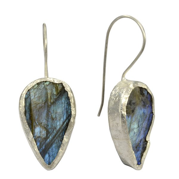 labradorite pear earrings green