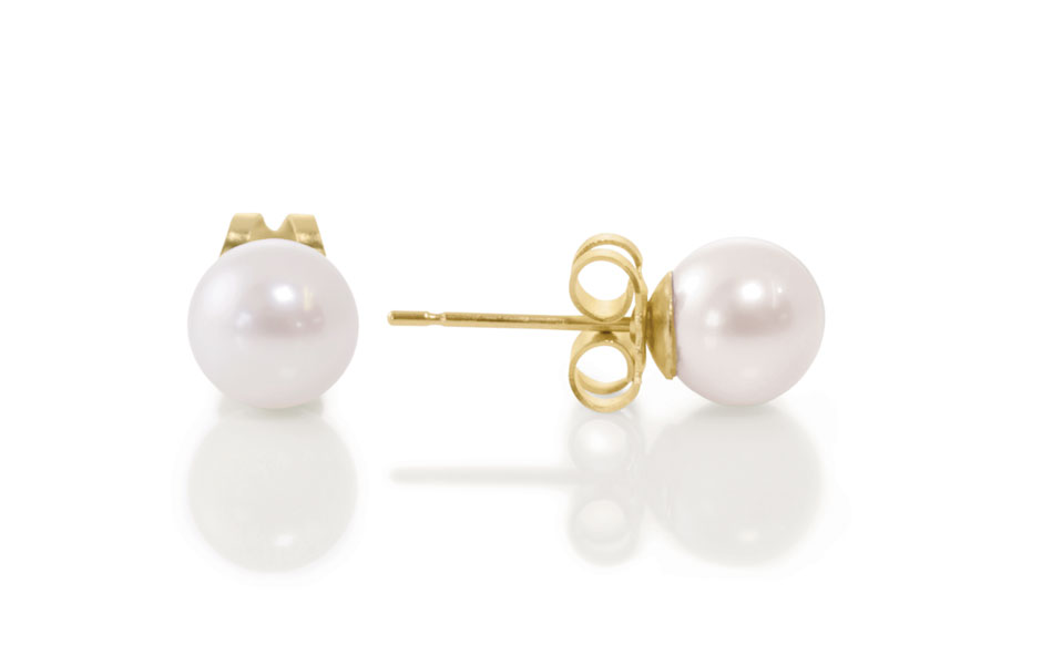 pearl earstuds yellow gold 8mm