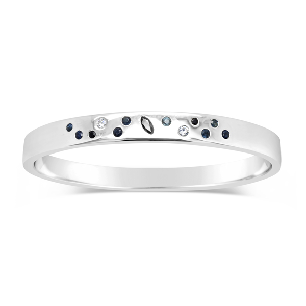 sapphire bangle in silver with diamonds