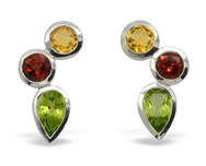 November Birthstone earrings citrine peridot and garnet