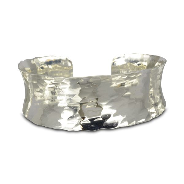 Narrow Hammered silver cuff bangle