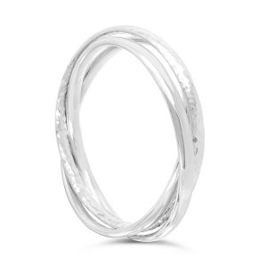 hammered triple bangle in solid silver