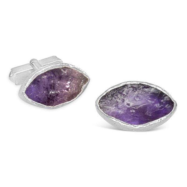 Amethyst Cufflinks rough cut