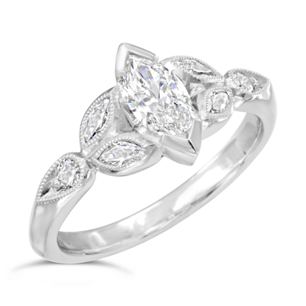jewellers marquee product sanders diamond marquise ring halo