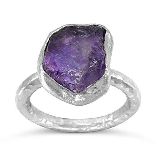 amethyst stacking ring rough cut in silver