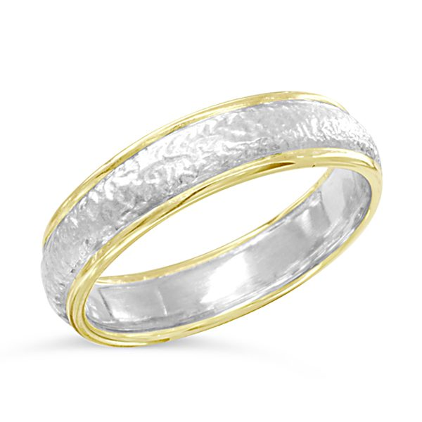 textured two colour wedding band