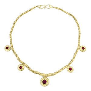 Ruby necklace in gold plated silver