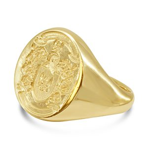 Gold signet ring coat of arms
