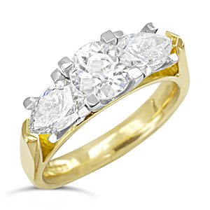 Diamond pear trilogy ring