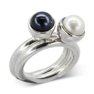 Black Pearl Stacking Ring