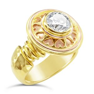 Roman hesart ring diamond 18ct yellow rose gold