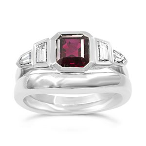 Ruby Diamond ring in platinum with fitted wedding band