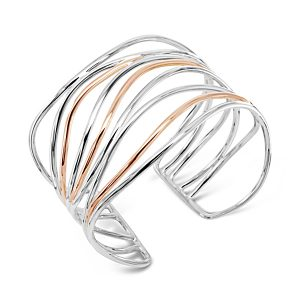Rose Gold Silver Wire Cuff Bangle