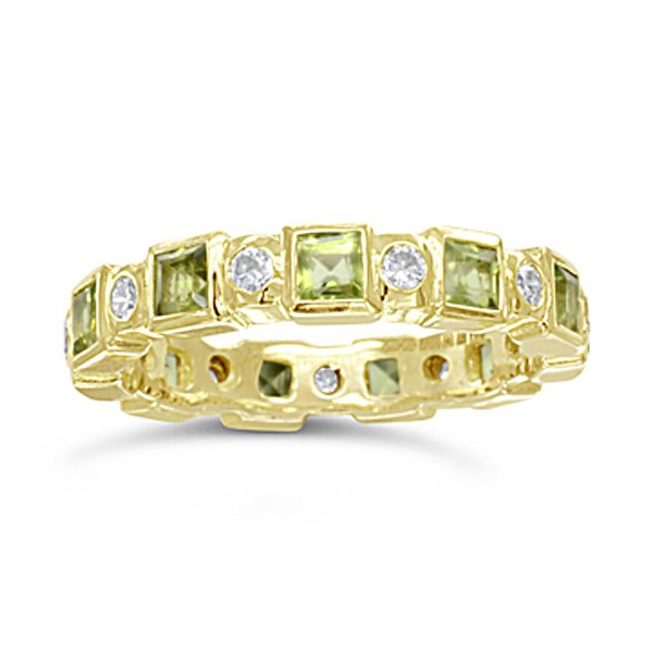 gold peridot diamond eternity ring