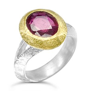 Ruby anniversary ring in silver and gold