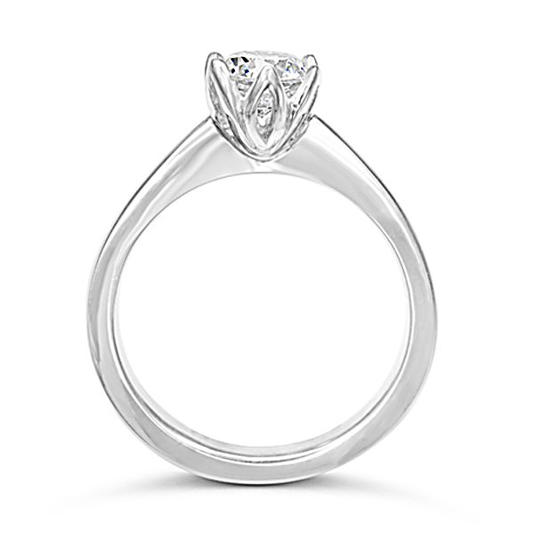 Diamond engagement ring tulip claw setting