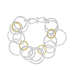Hammered chain bracelet silver and gold