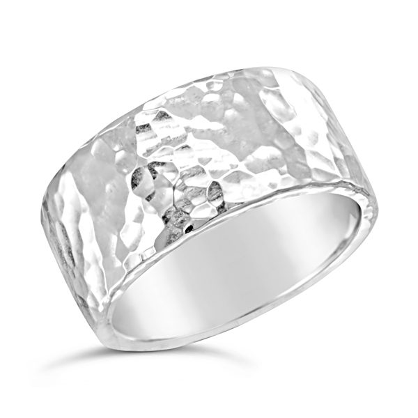 Hammered wide wedding ring