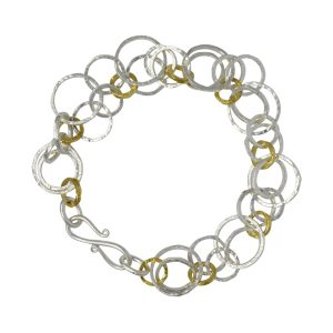 Hammered two tone chain bracelet