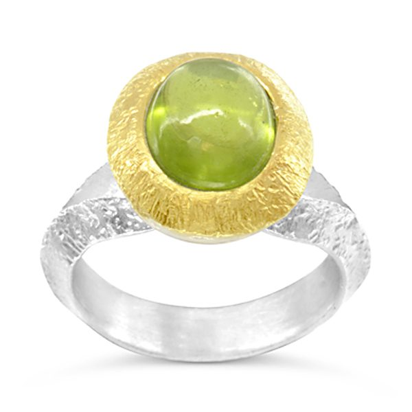 Peridot ring Silver and 18ct gold