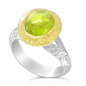 Peridot dress ring in 18ct yellow gold andf silver