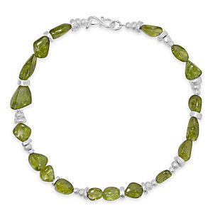 peridot pebble necklace tumbles with silver