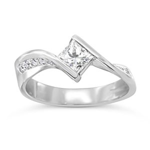 Channel set flat twist engagement ring