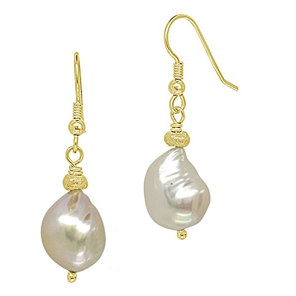 Gold Nugget Pearl Earrings