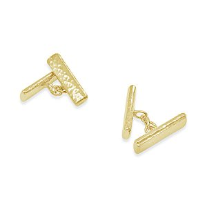 hammered gold bar cufflinks