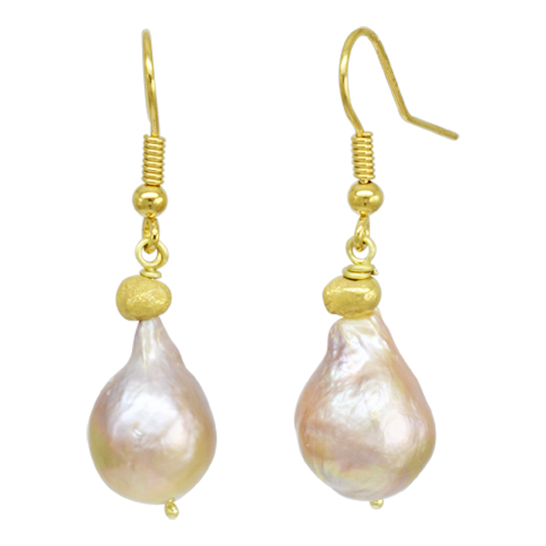 Peach Baroque Pearl Drop Earrings