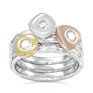 diamond pebble stacking rings three colour gold
