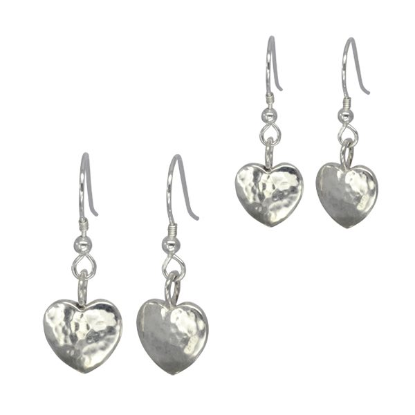 Silver Heart Earrings Hammered Finish