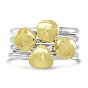 gold pebble stacking rings