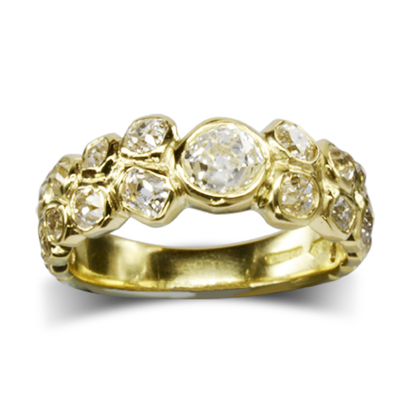 Recycle your old cut diamond bubbles eternity ring