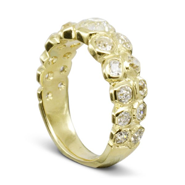 Old cut diamond bubbles eternity ring