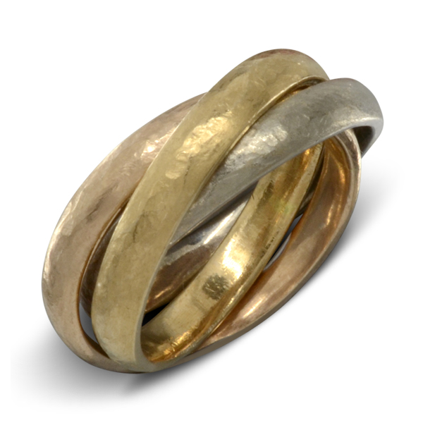 three colour gold russian wedding ring handmade